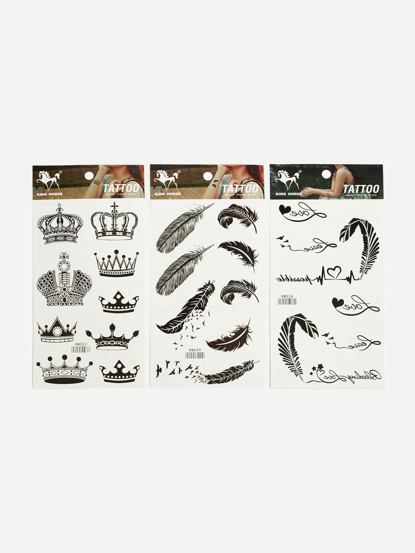Купить Наклейка татуировки Crown & Feather 3шт, null, SheIn