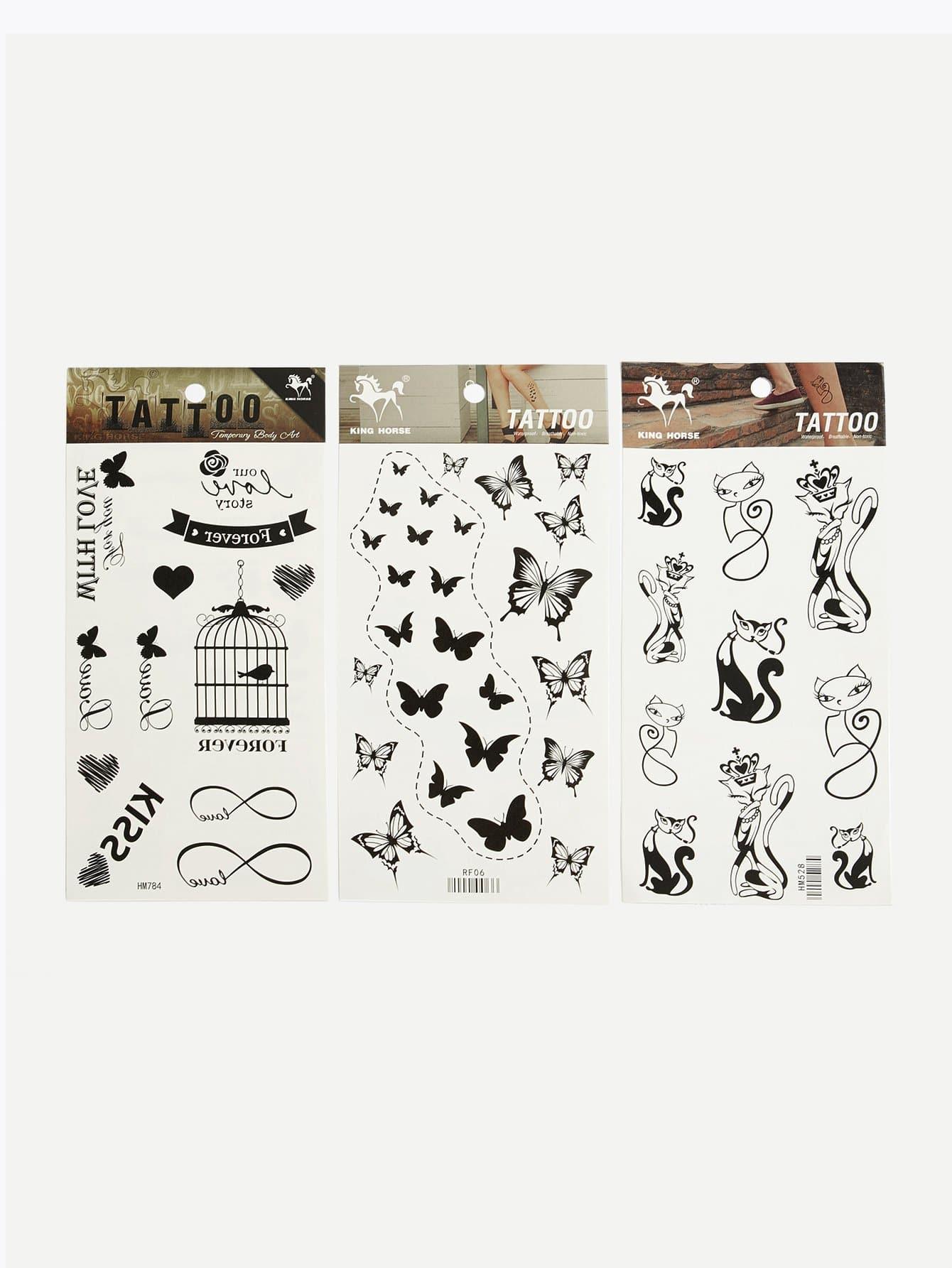 Купить Наклейка для татуировки животных 3шт., null, SheIn