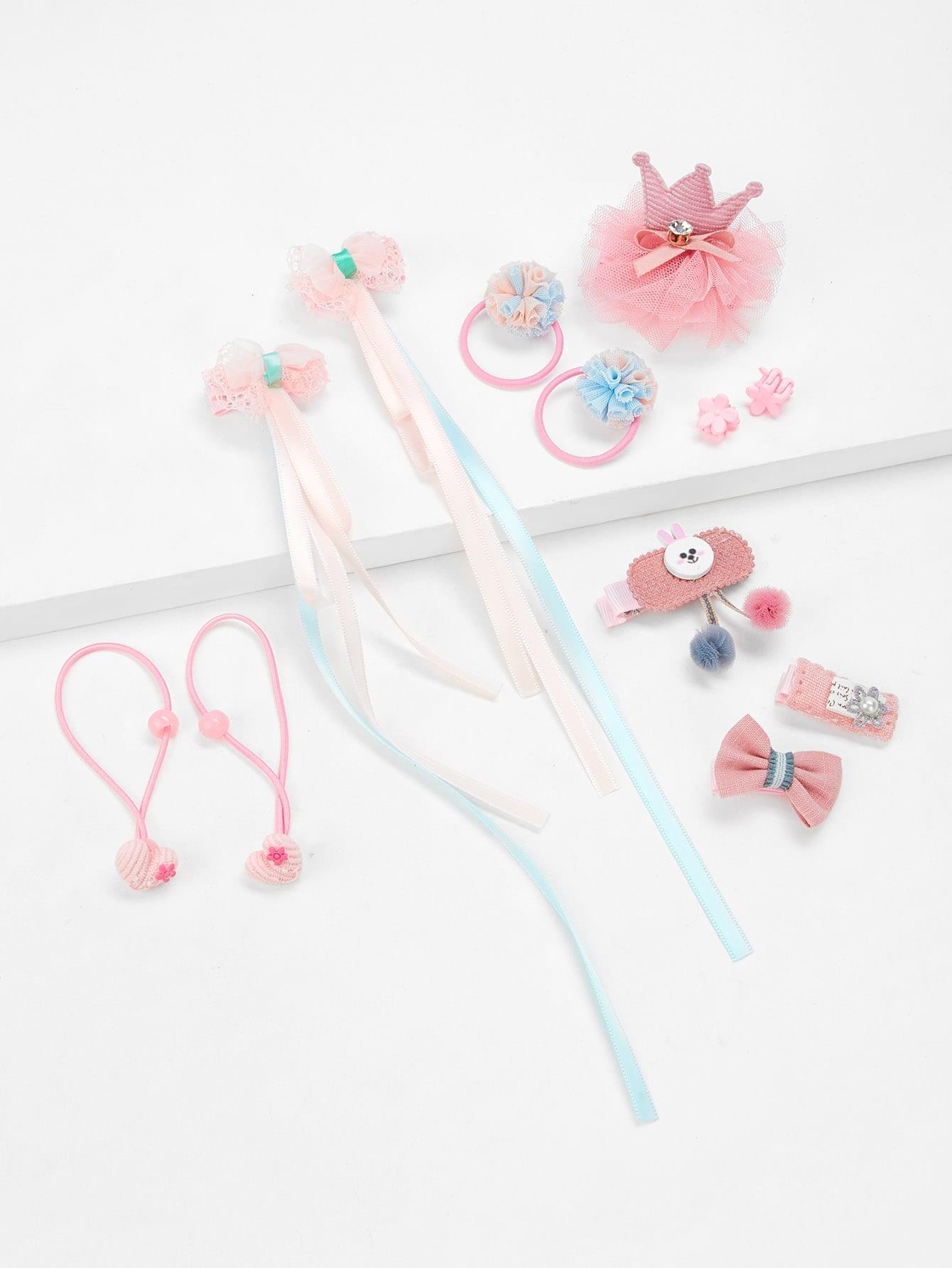 Girls Hair Tie & Clip Set 12pcs