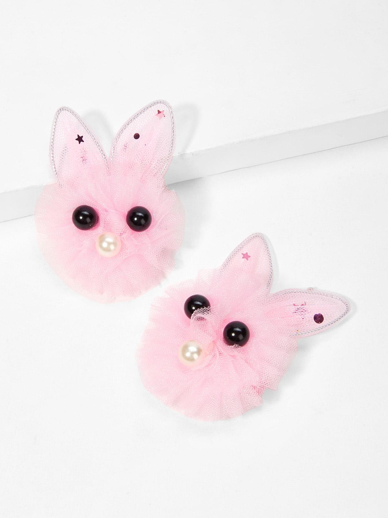 Girls Rabbit Shaped Hair Clip 2pcs