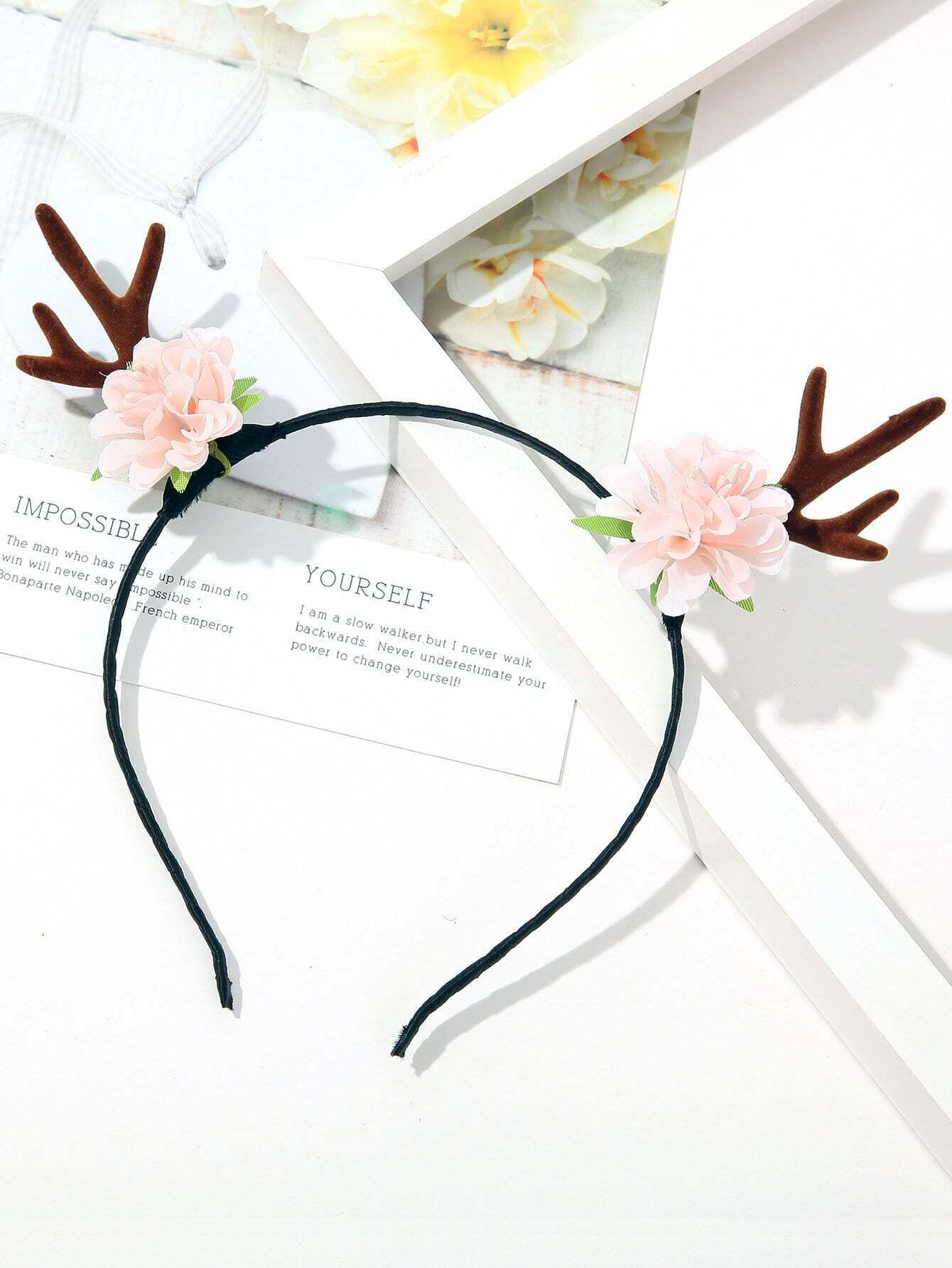 Girls Flower & Antlers Decorated Headband