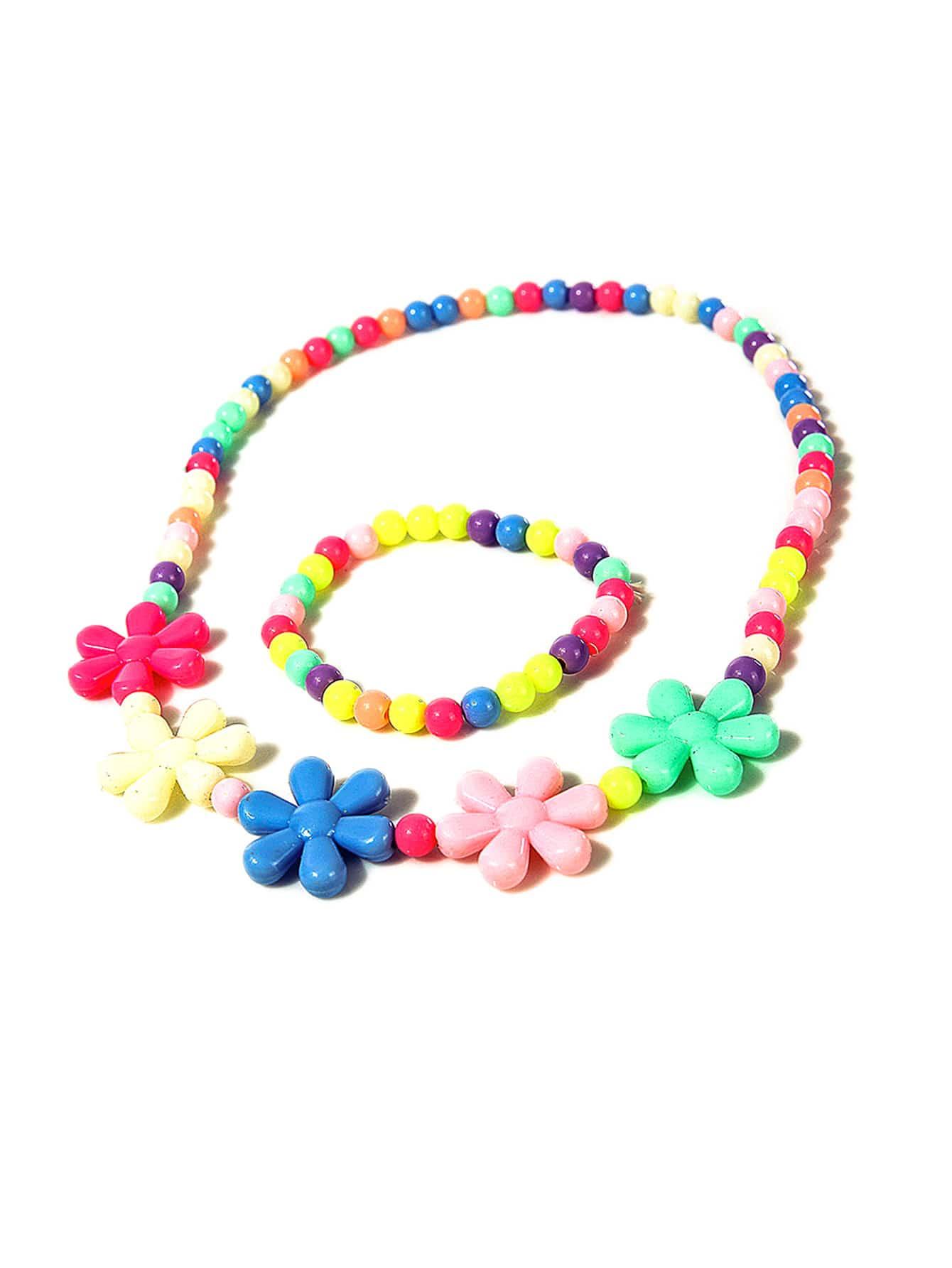 Купить Ожерелье & браслет девушок цветка 2pcs, null, SheIn