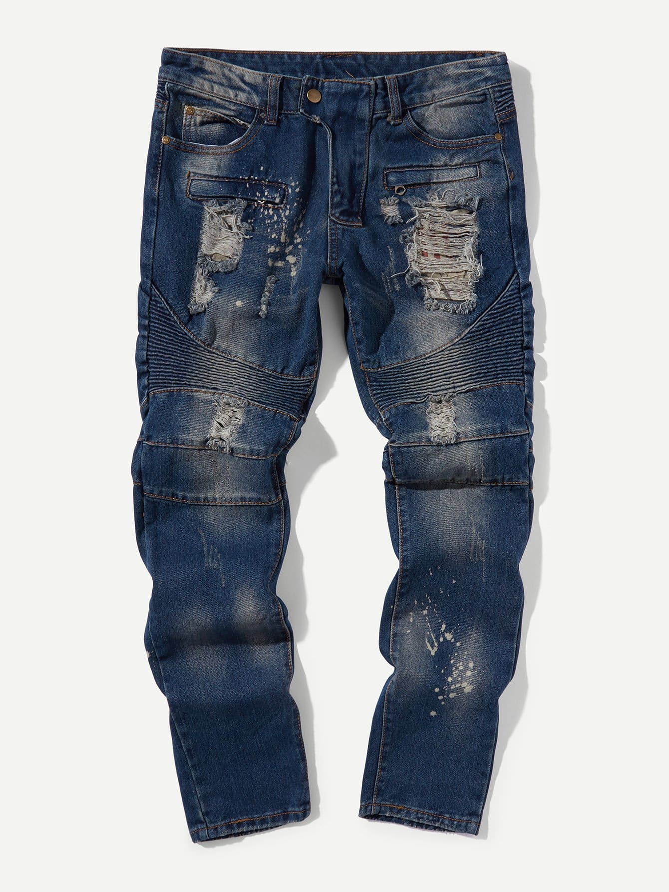Купить Рваные джинсы и со складками для мужчины, null, SheIn