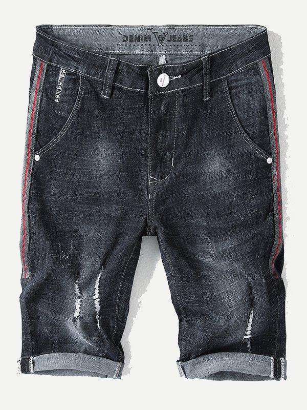 Купить Рваные джинсовые шорты и с лентами для мужчины, null, SheIn