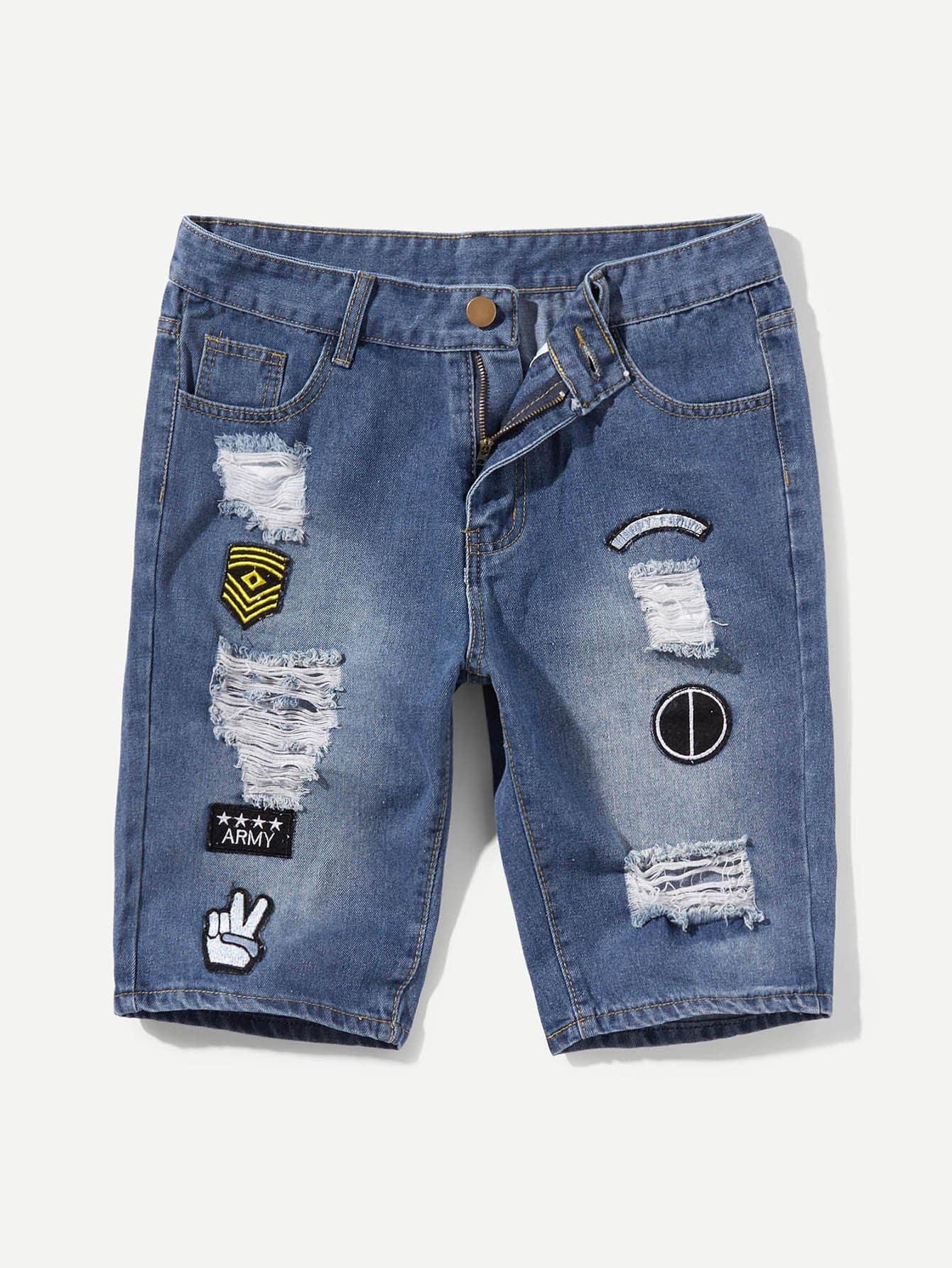 Купить Джинсовые шорты и с украшением заплаты для мужчины, null, SheIn