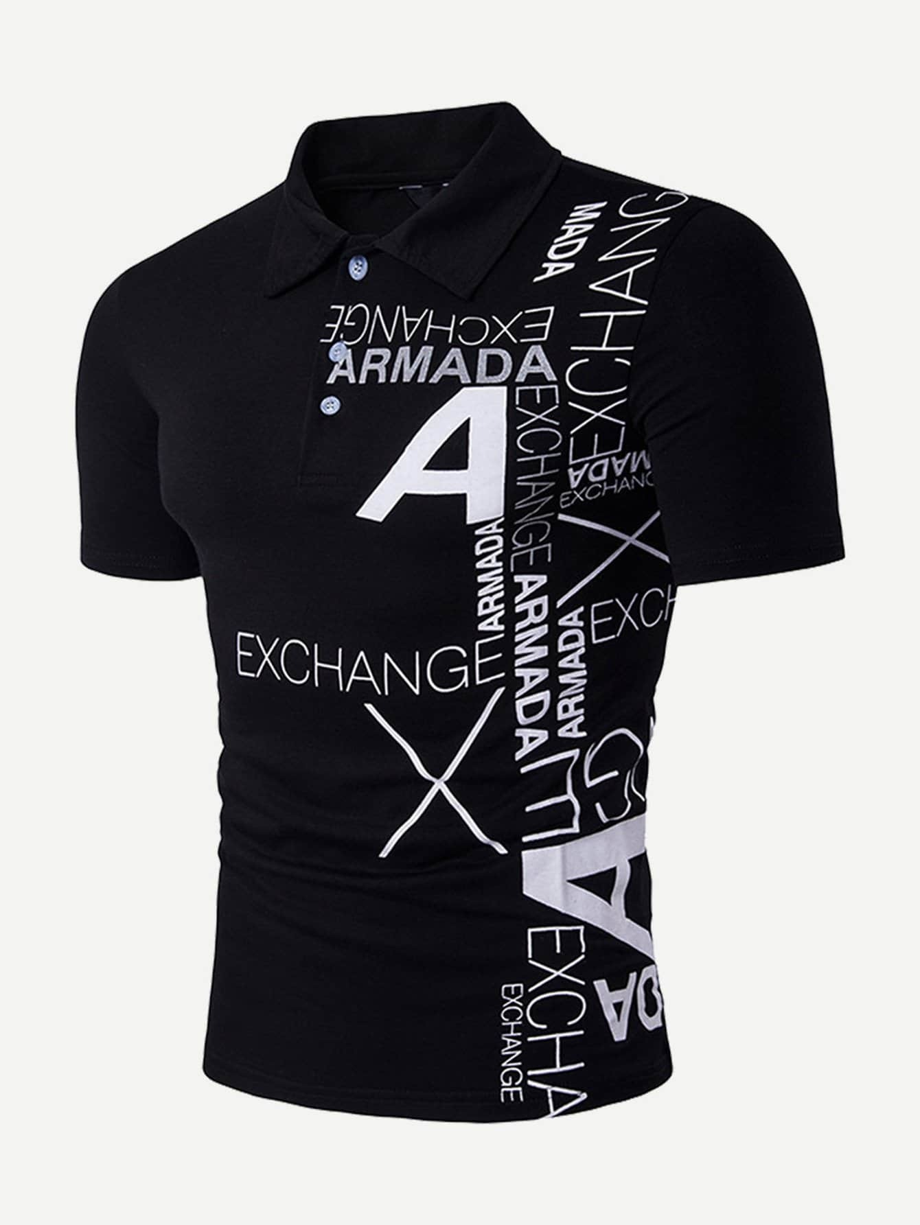 Men Abstract Letter Print Polo Shirt