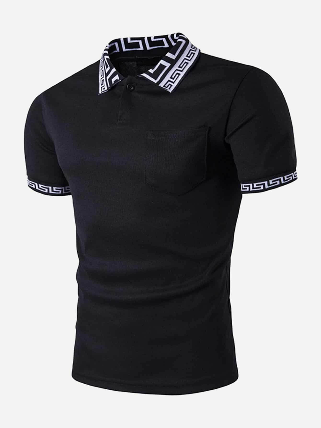 Поло футболка и с рисунком эллинского ключей для мужчины, null, SheIn  - купить со скидкой