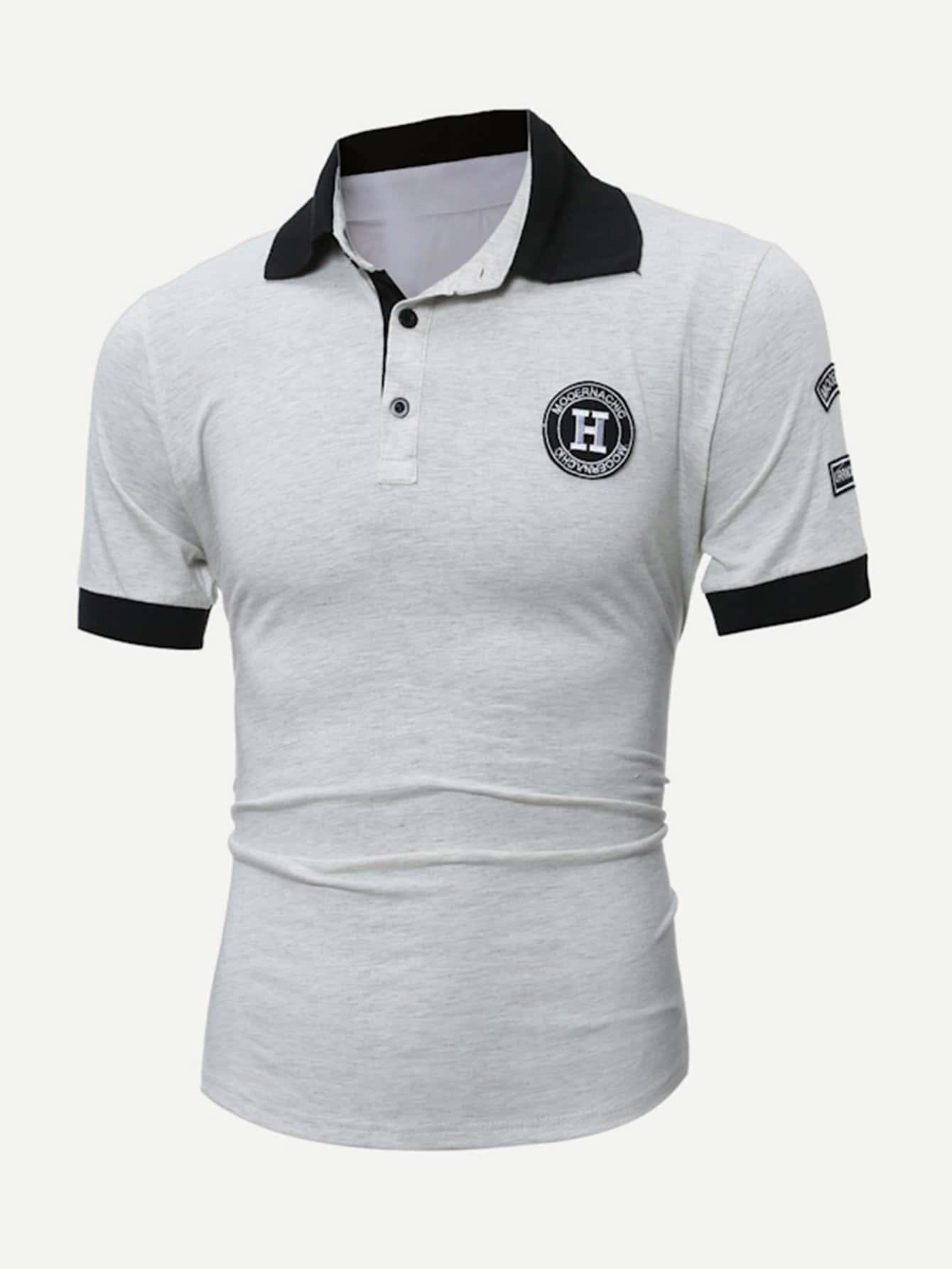 Купить Поло футболка и с украшением заплаты для мужчины, null, SheIn
