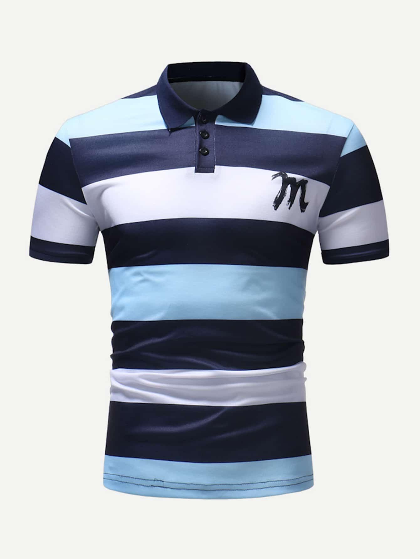 Купить Поло полосатая футболка и с рисунками буквы для мужчины, null, SheIn