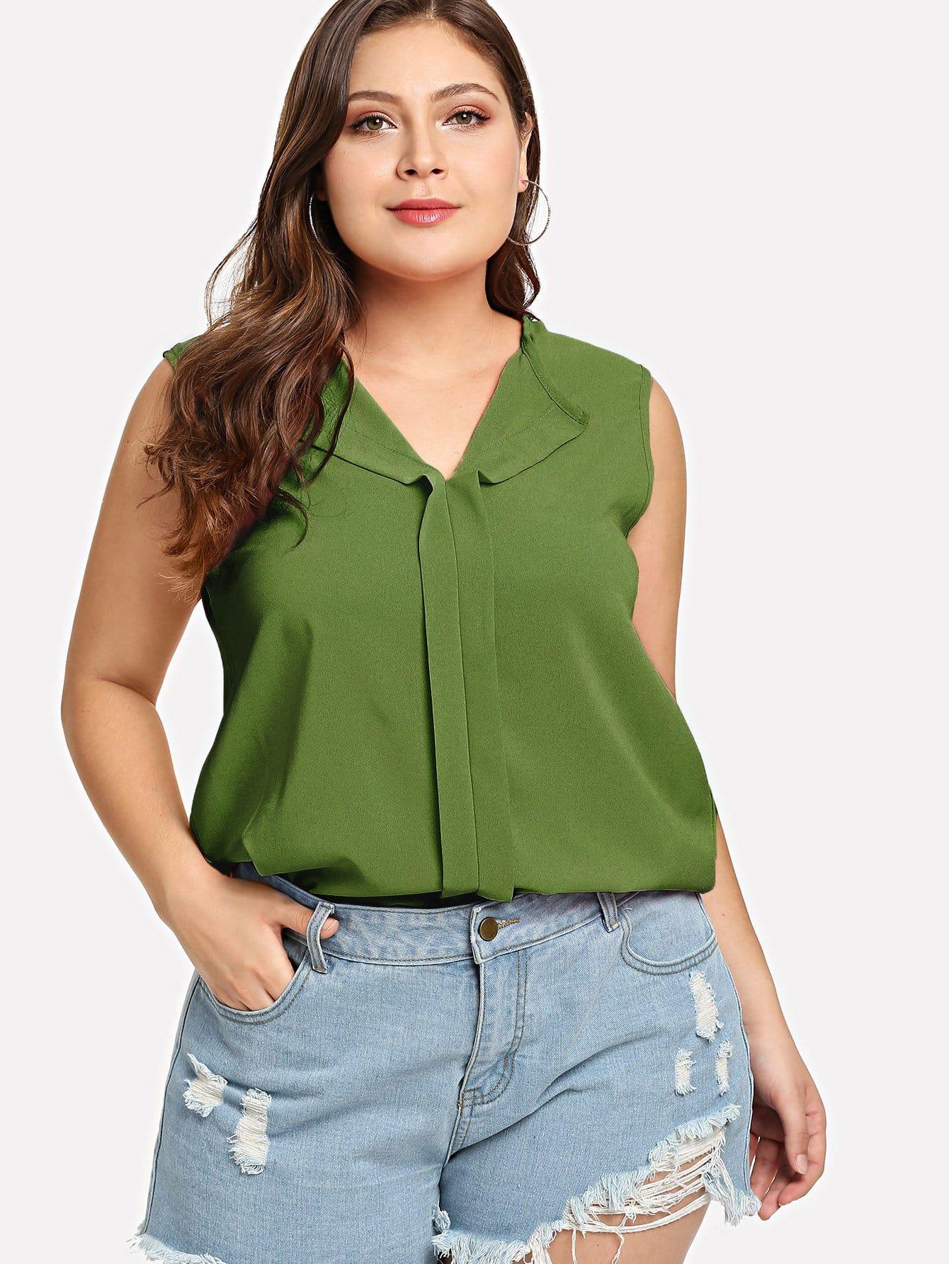 Купить Большая рубашка и с V-образным вырезом и без рукавов, Carol, SheIn