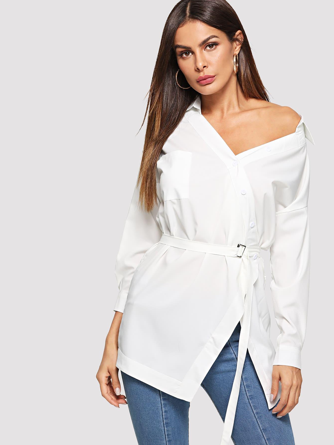 Купить Повседневный Одноцветный Пуговица Белый Блузы+рубашки, Andy, SheIn