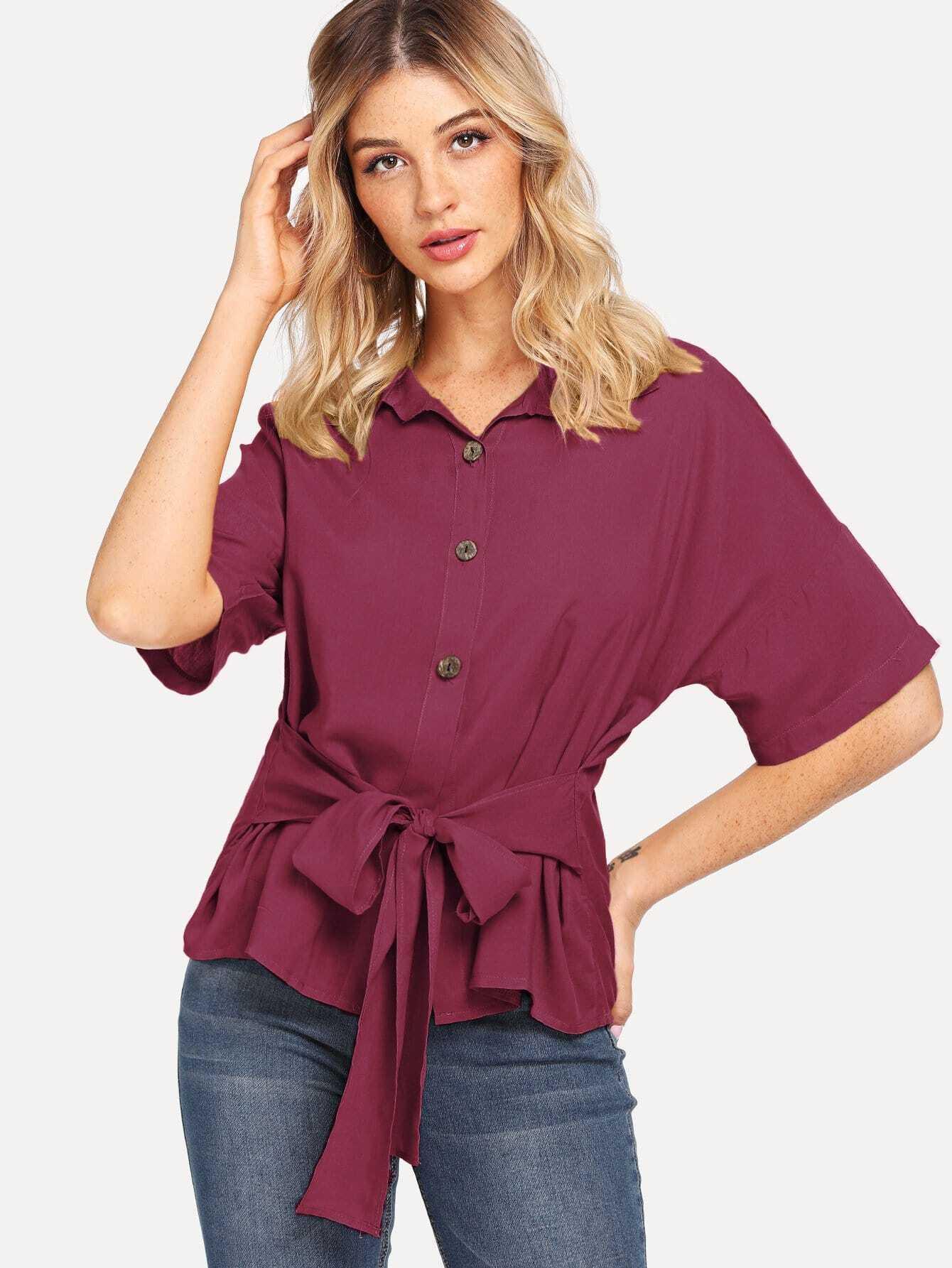 Купить Повседневный Одноцветный с бантом Бордовый Блузы+рубашки, Nathane, SheIn
