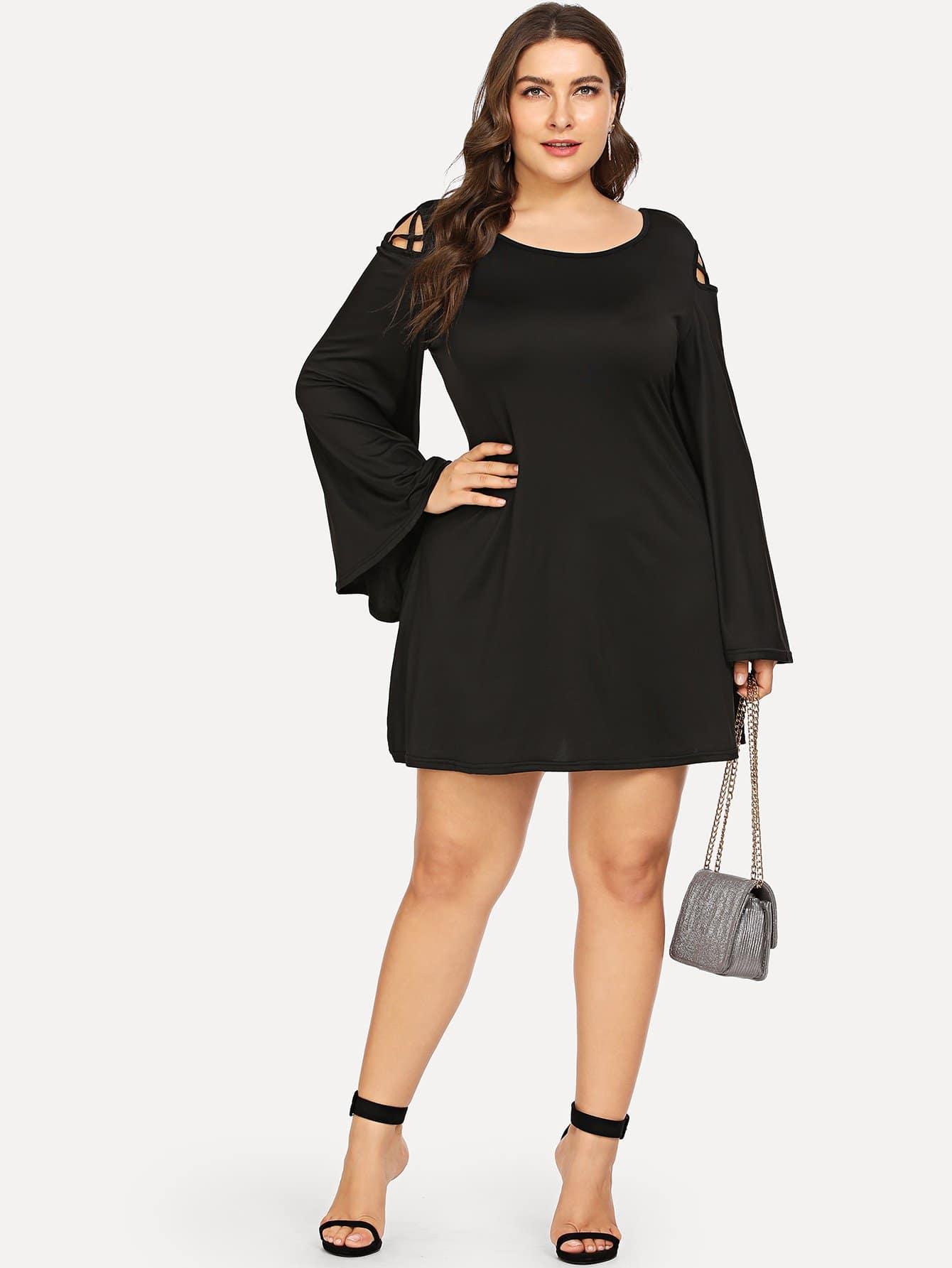 Купить Большое платье и с лентами пересечения сзади одежды и рукава с розеткой, Franziska, SheIn