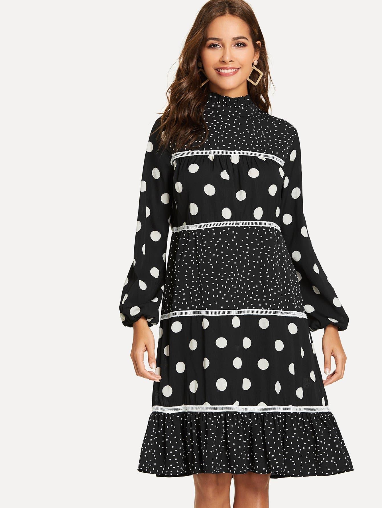Купить Элегантный стиль В горошек Низ-оборка Чёрные Платья, Giulia, SheIn