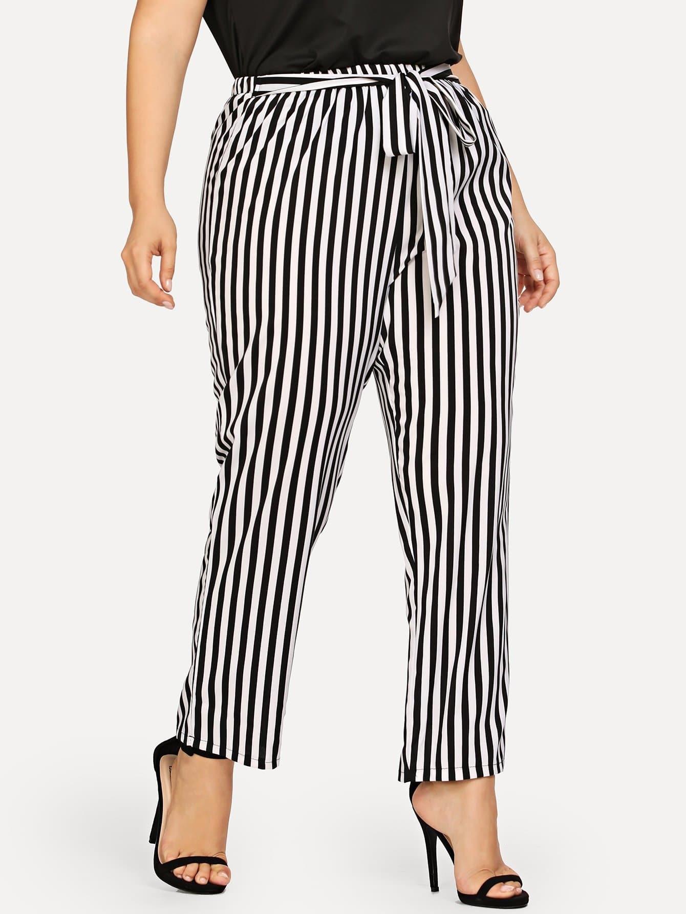 Купить Большие полосатые брюки и с украшением банта перед, Franziska, SheIn