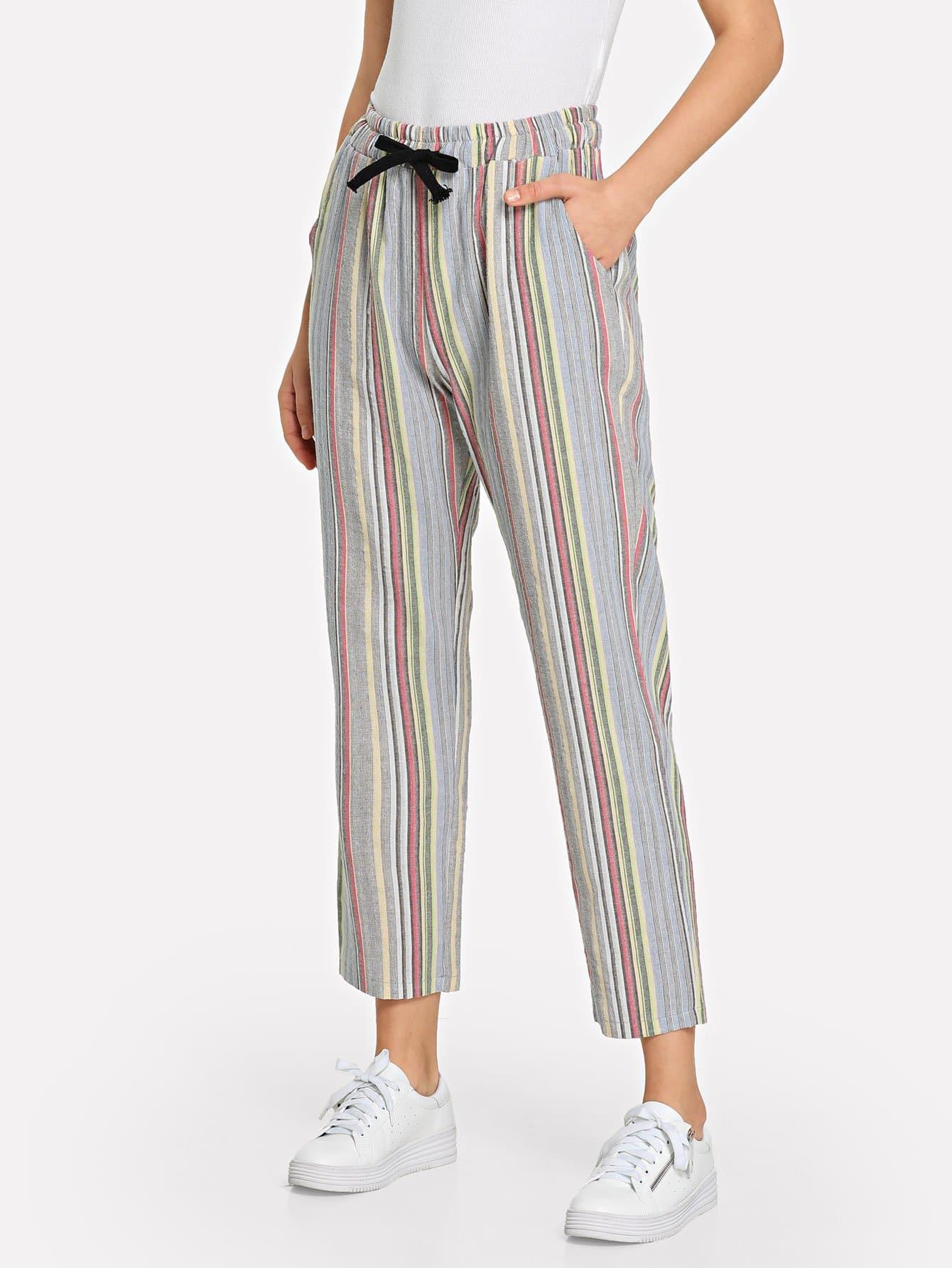 Купить Полосатые брюки и с украшением банта перед, Teresa, SheIn