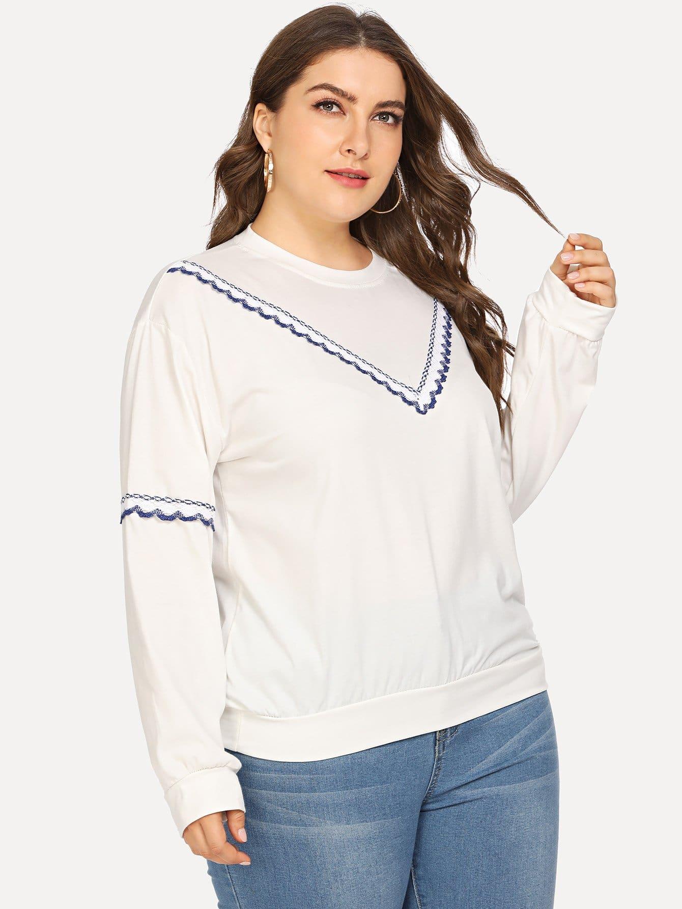 Купить Большая спортивная футболка и со симметрическими кружевами, Franziska, SheIn