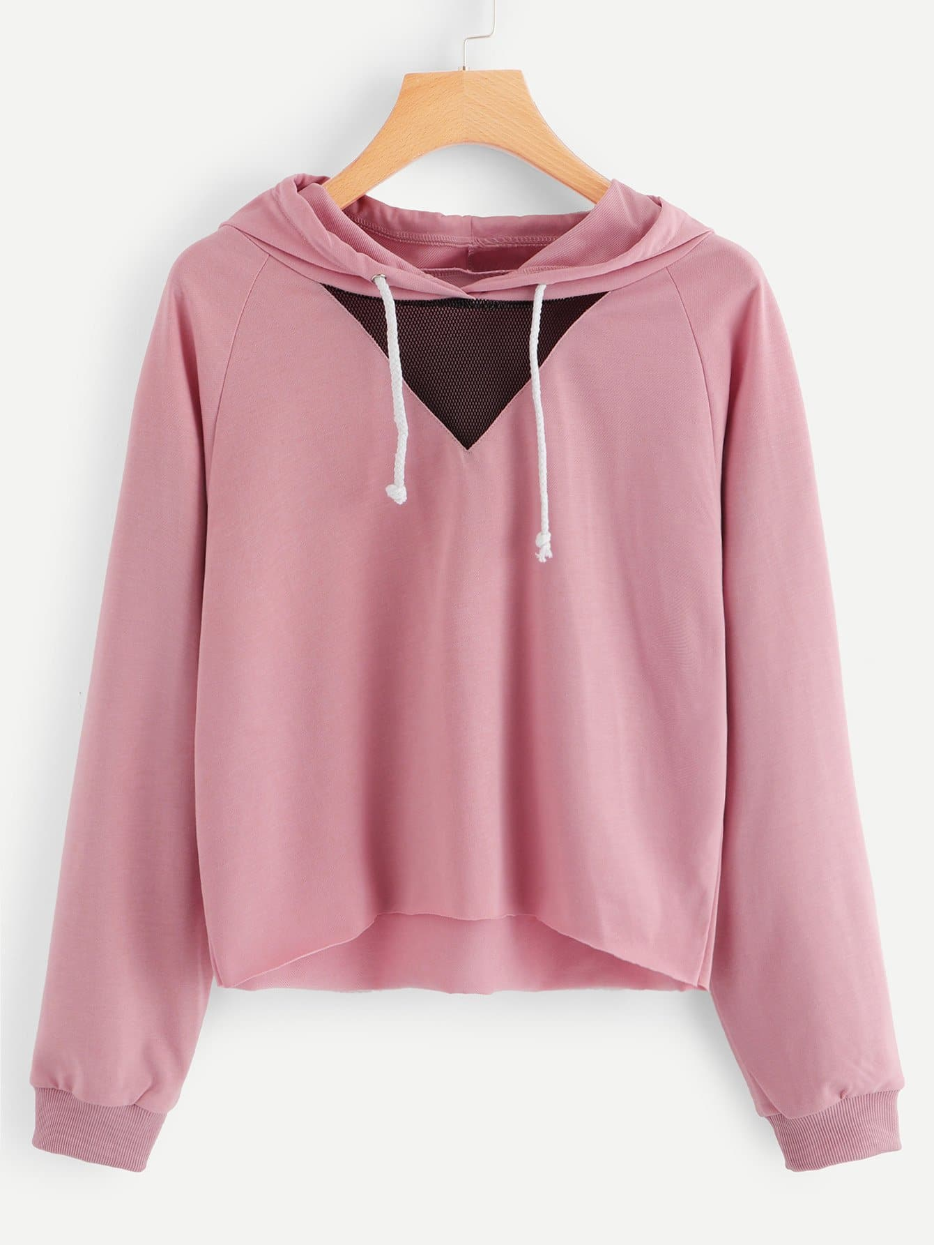 Contrast Mesh Hooded Sweatshirt