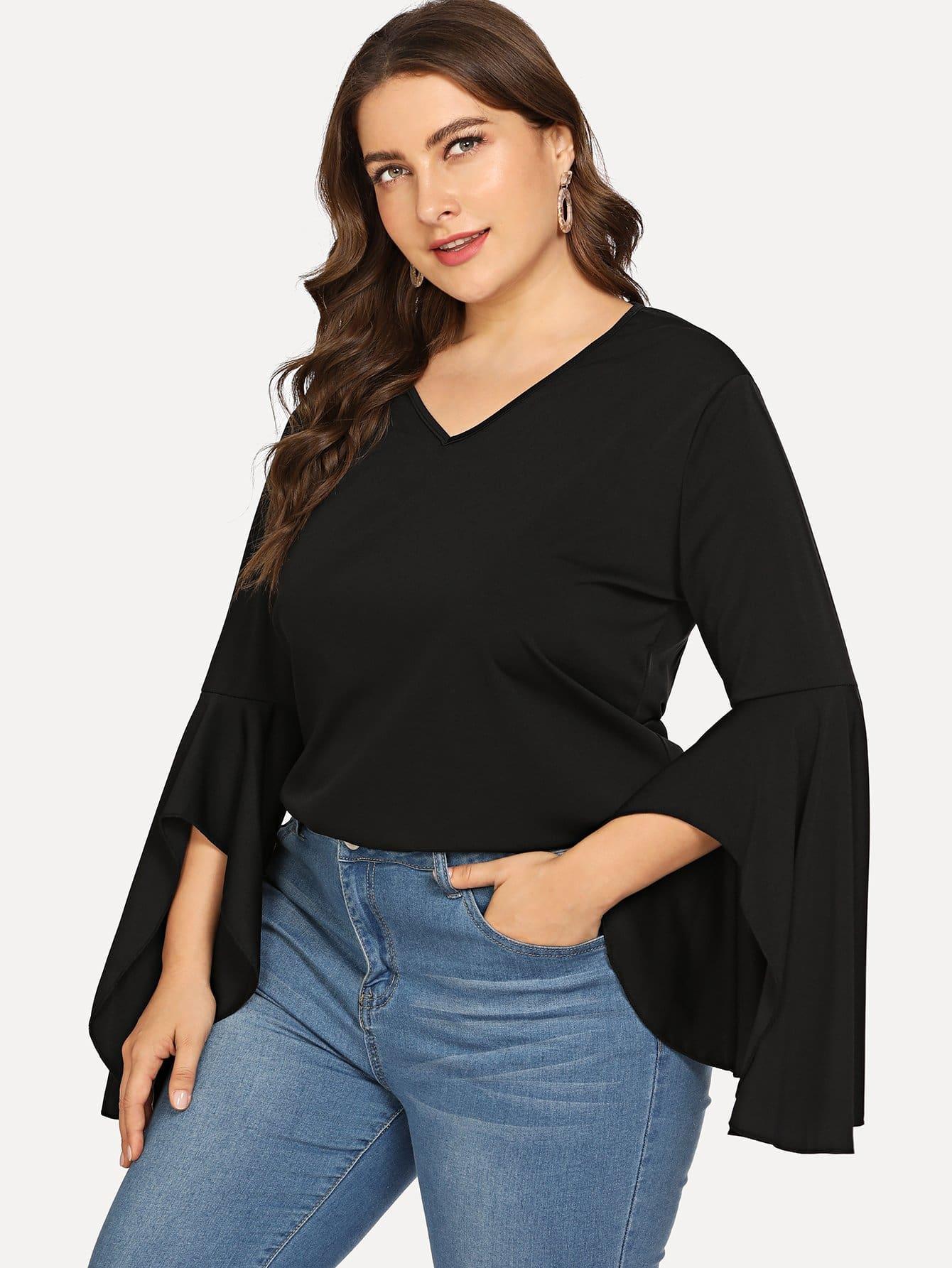 Купить Большая простая футболка и с V-образным вырезом и рукава с розеткой, Franziska, SheIn