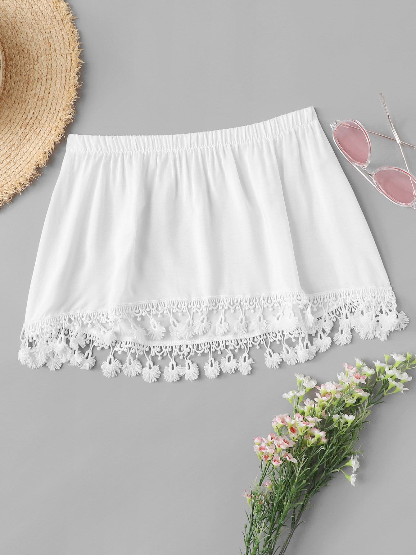 Solid Lace Panel Hem Tube Top