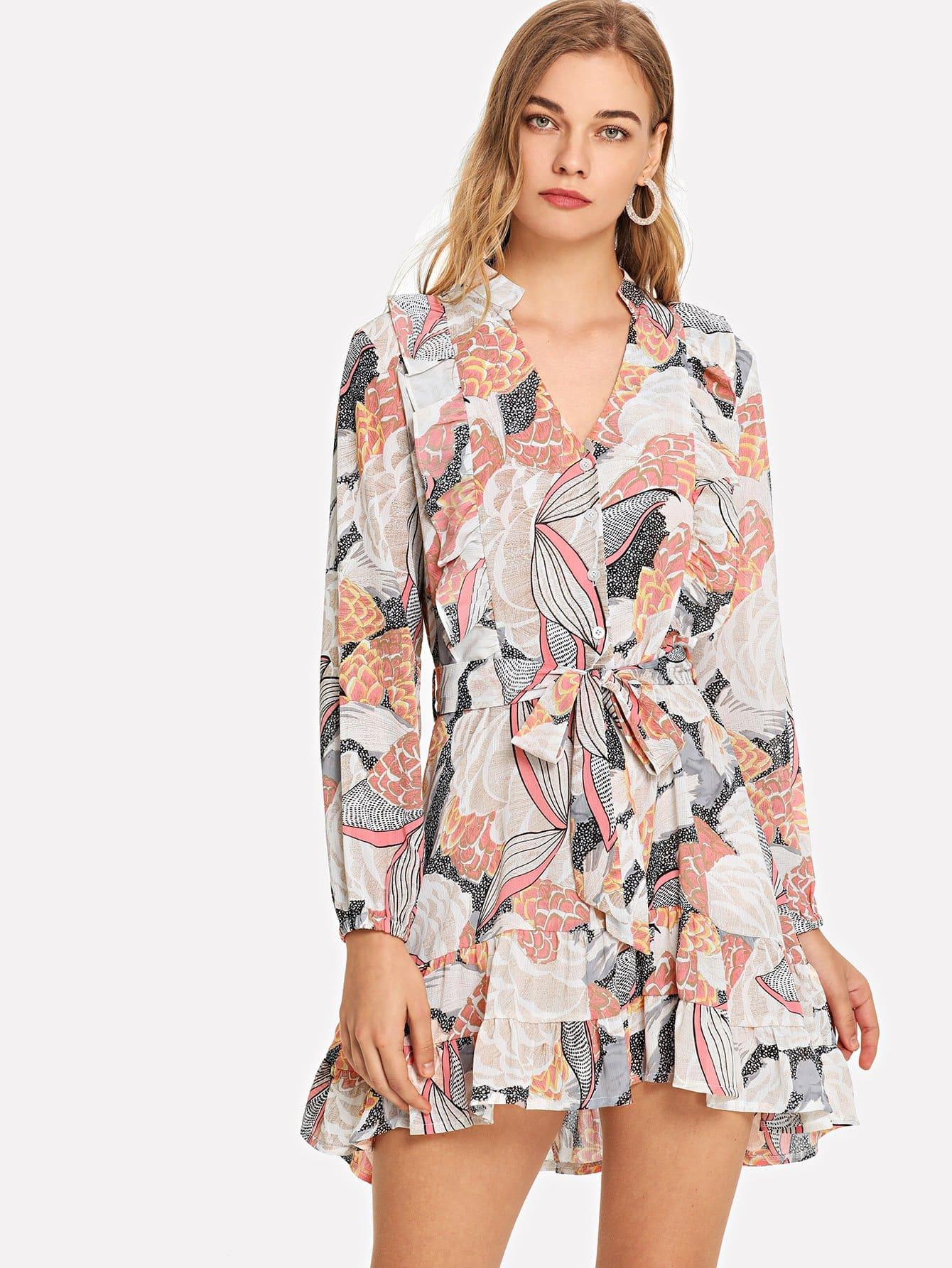 Tie Waist Random Print Dress