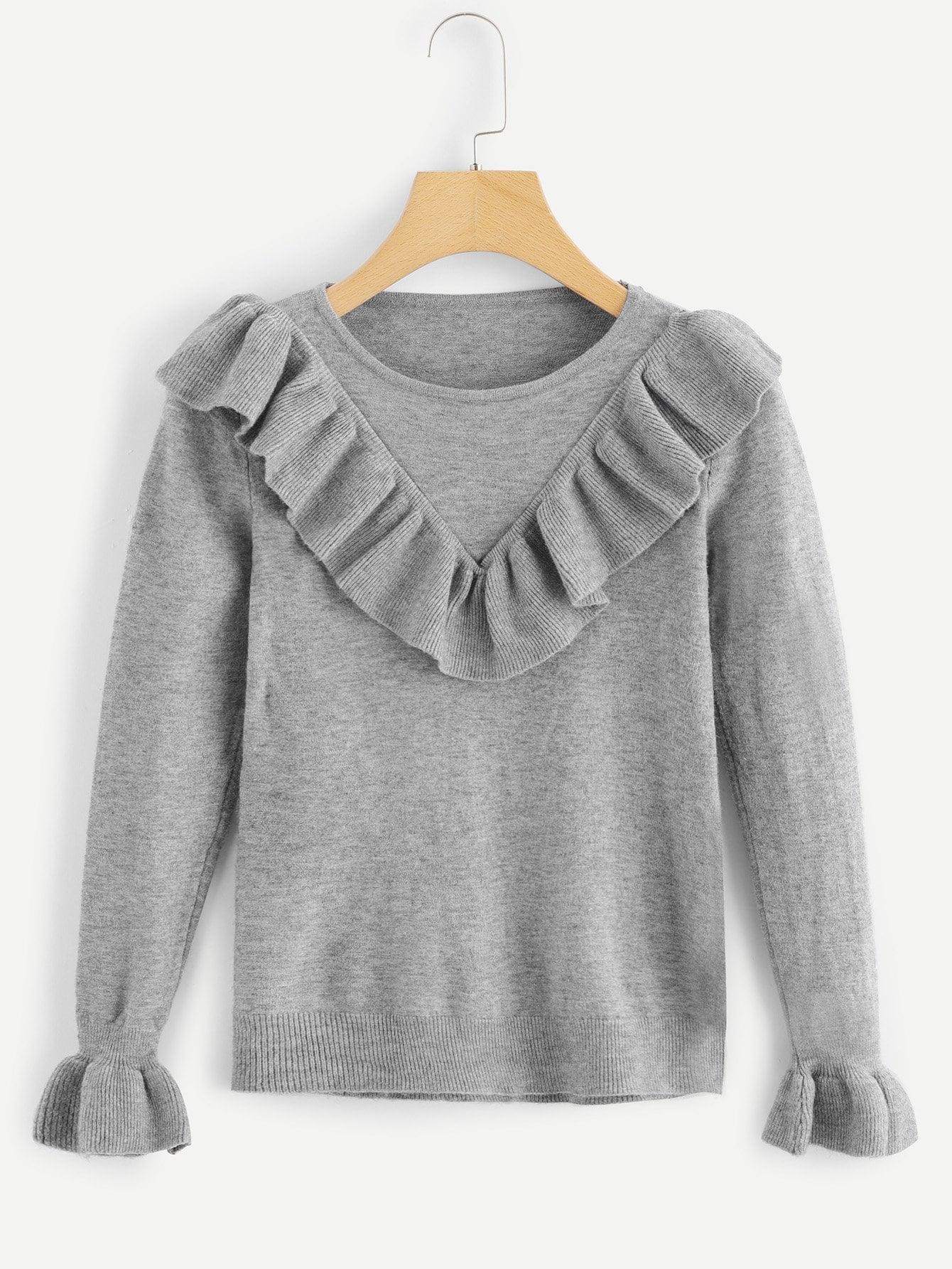 Solid Ruffle Trim Sweater