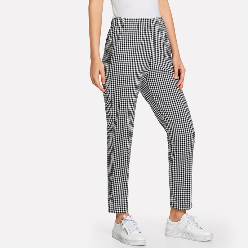 Elastic Waist Checked Pants, Black and white