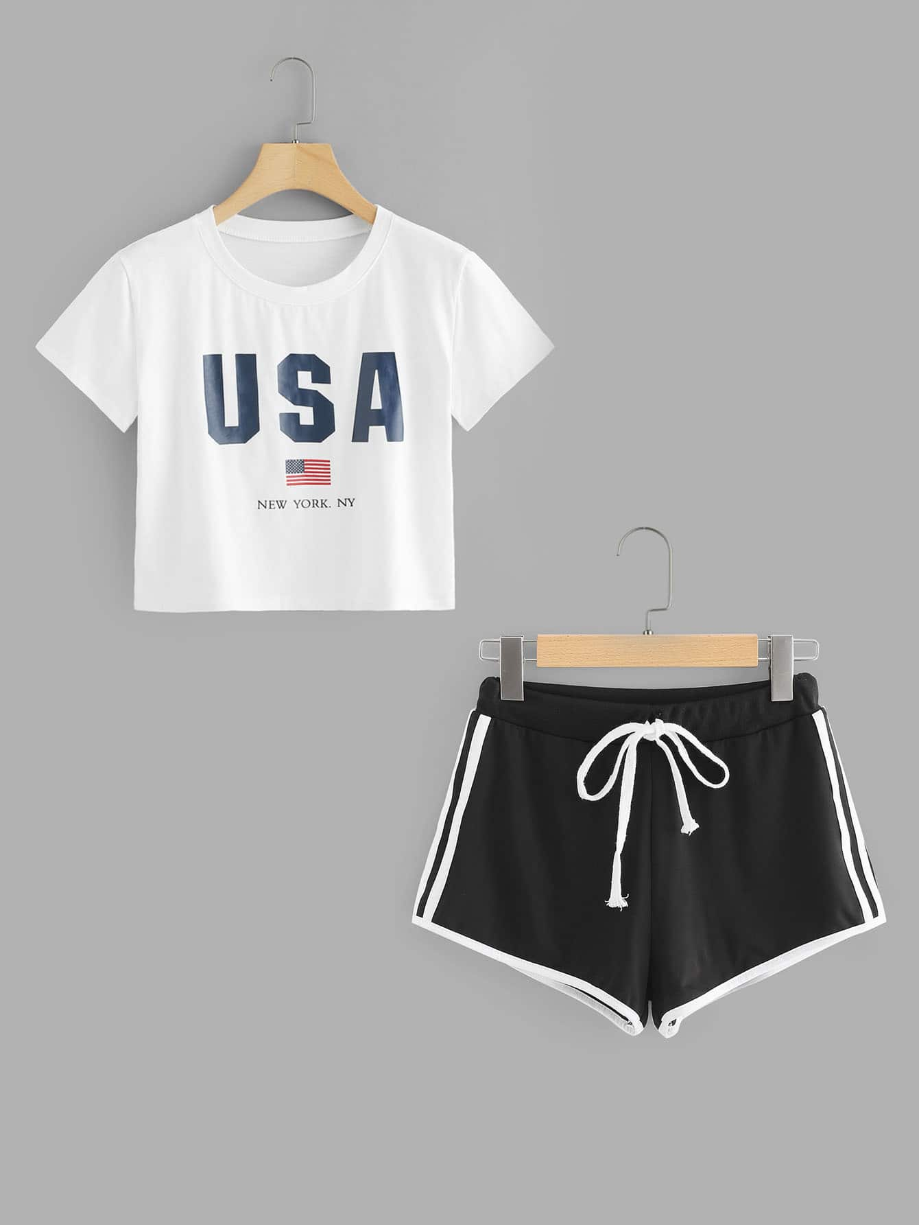 American Flag Print Crop Tee With Shorts
