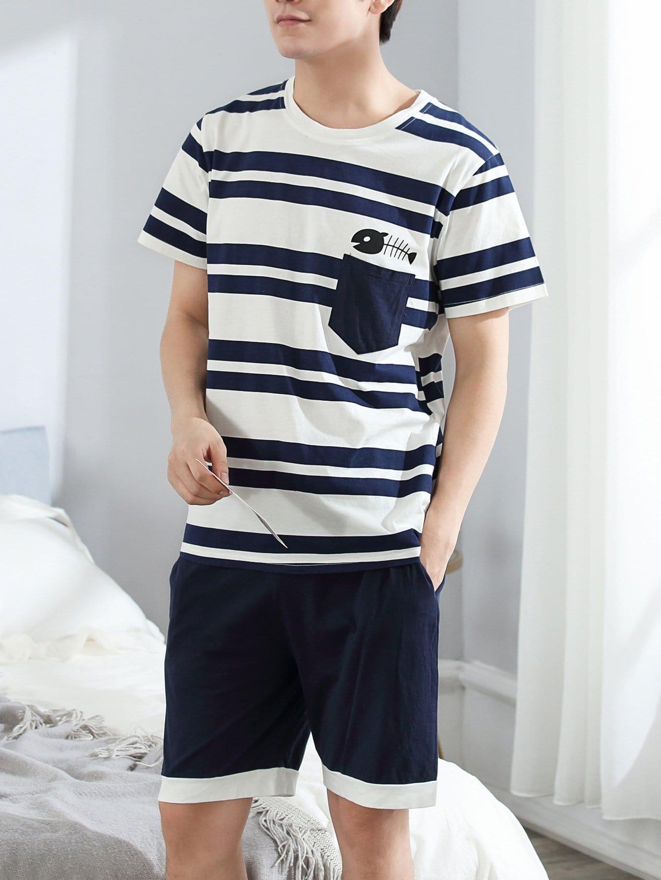 Men Fishbone Print Striped Pajama Set