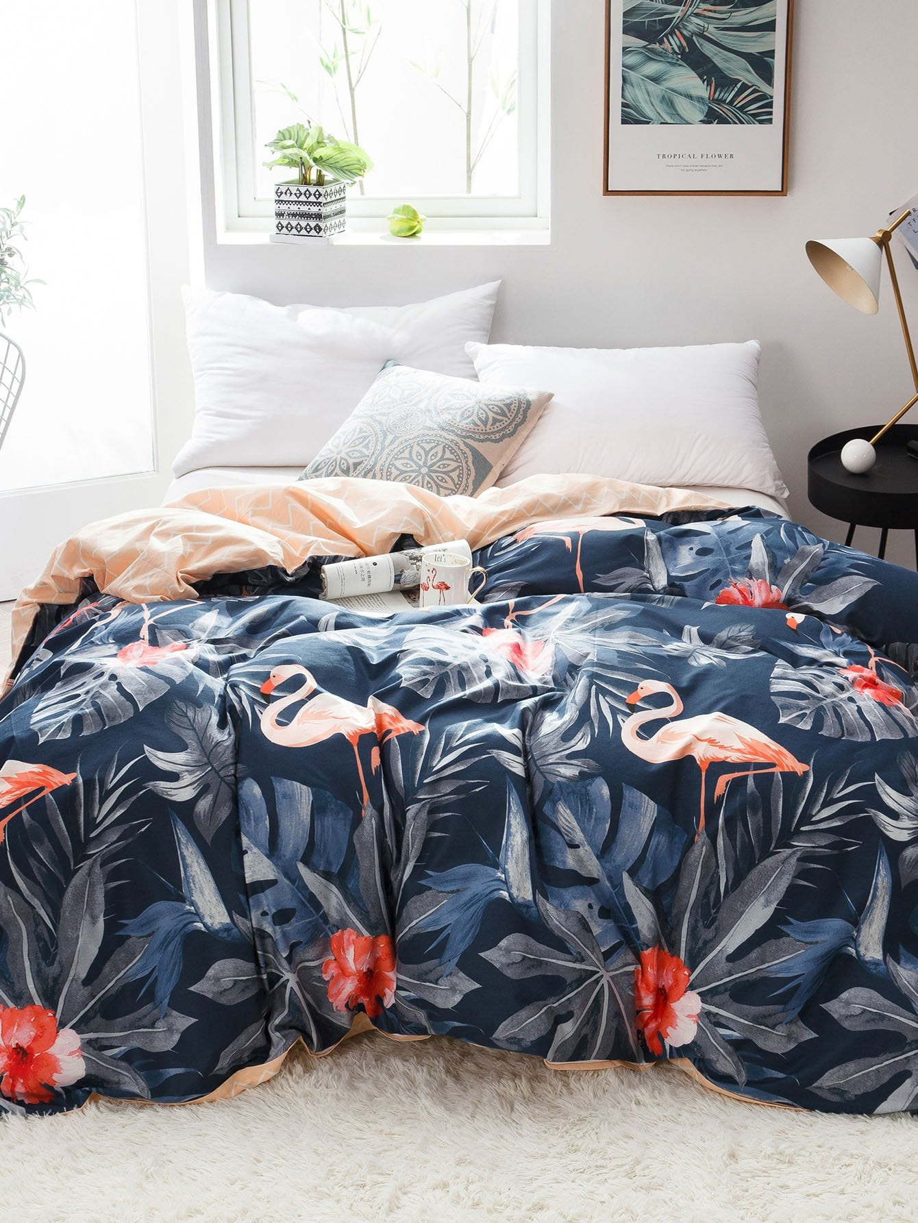 Leaf & Flamingos Print Duvet Cover 1PC