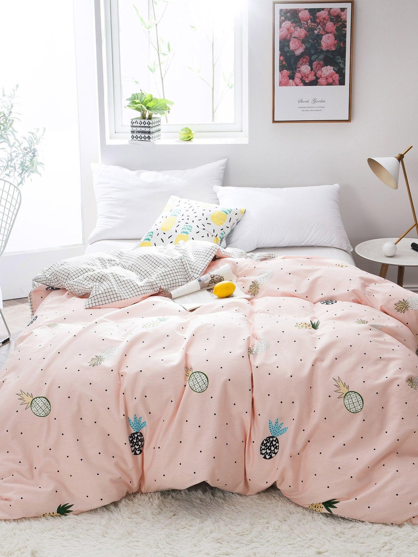 Купить Набор чехола на одеяло и с рисунками ананасов и точки польки 1 шт, null, SheIn