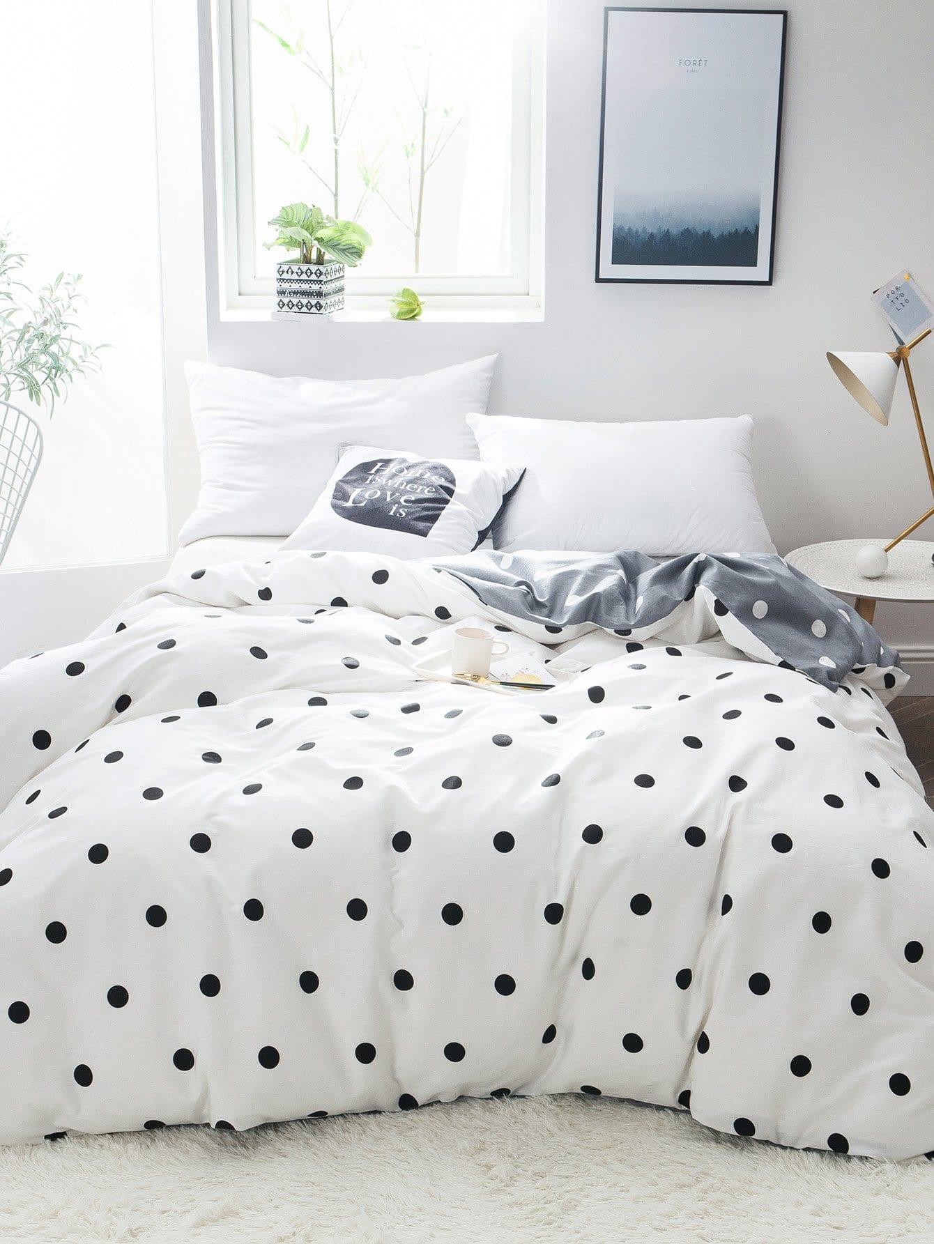 Купить Бархатное постельное бельё с рисунками точки польки 1 шт, null, SheIn