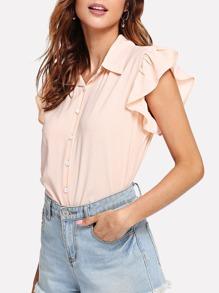 Ruffle Trim Solid Shirt
