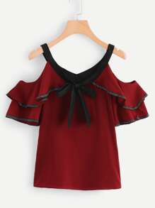 Tie Neck Tiered Ruffle Blouse