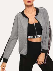 Ribbon Detail Zip Up Jacket