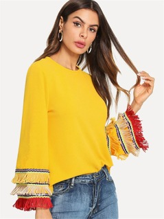 Embroidery Tape And Fringe Bell Sleeve Textured Blouse