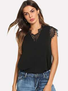 Eyelash Lace Panel Top