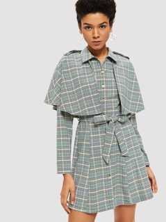 Double Layer Button Up Plaid Dress