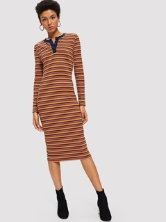 Half Placket Rib Knit Striped Dress