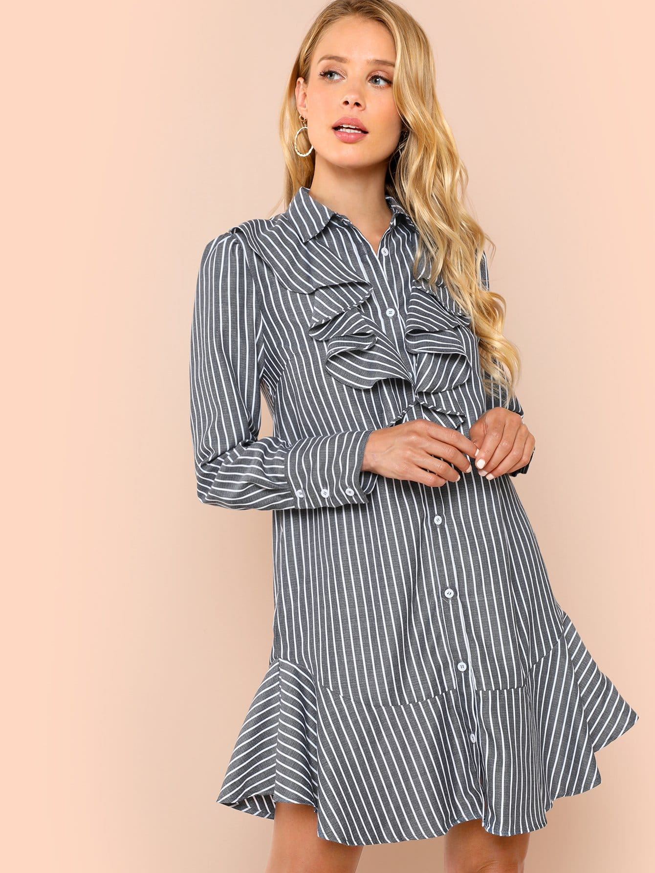 Платье с надписью Front Ruffle Striped