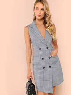 Double Breasted Glen Plaid Vest Dress