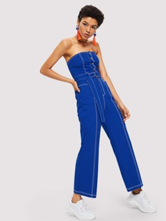 Contrast Stitch Button Front Cami Jumpsuit