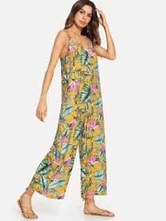 Jungle Leaf Print Cami Jumpsuit