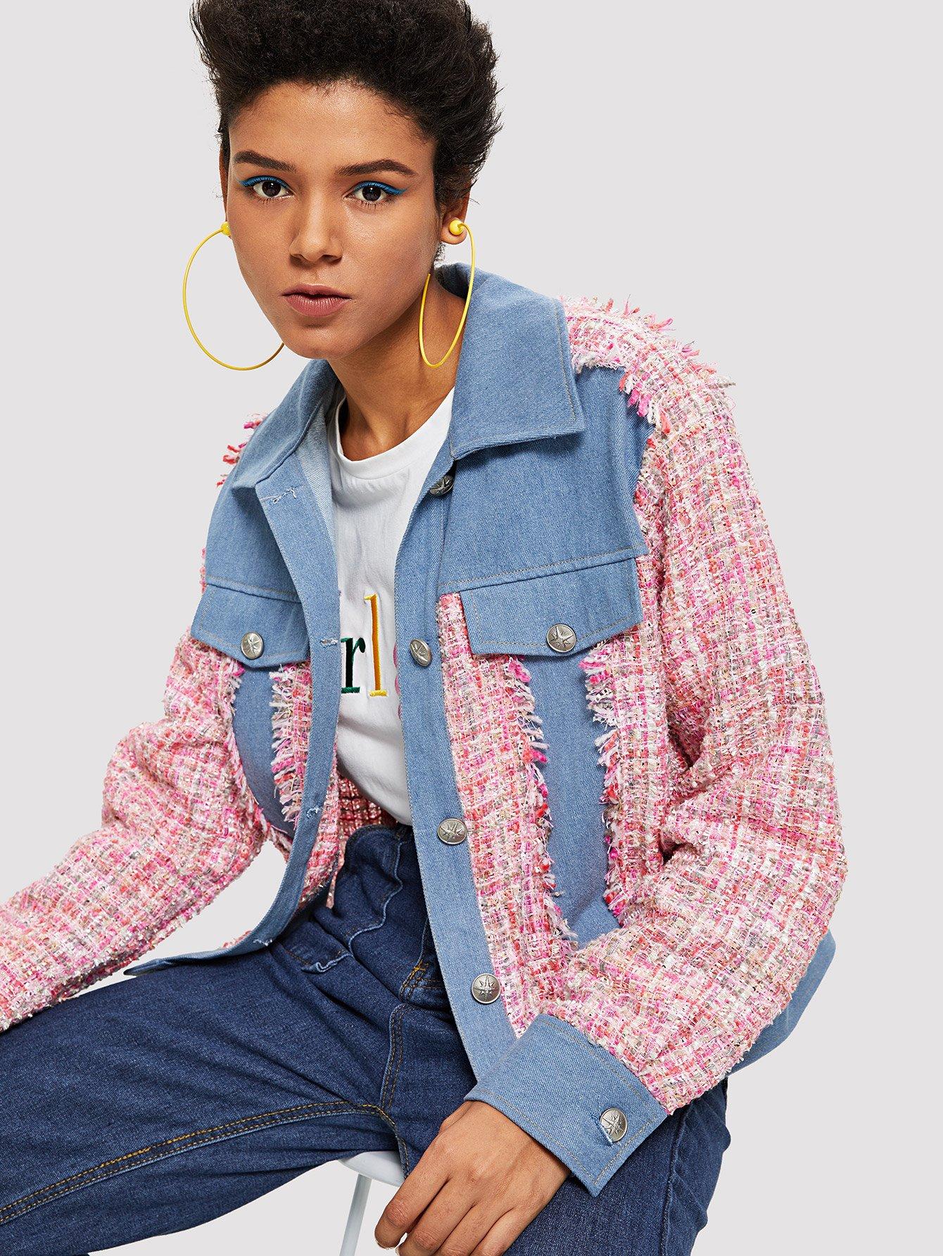 Купить Пальто с надписью Edge Colorblock Up Up, Hannah Mavestrand, SheIn