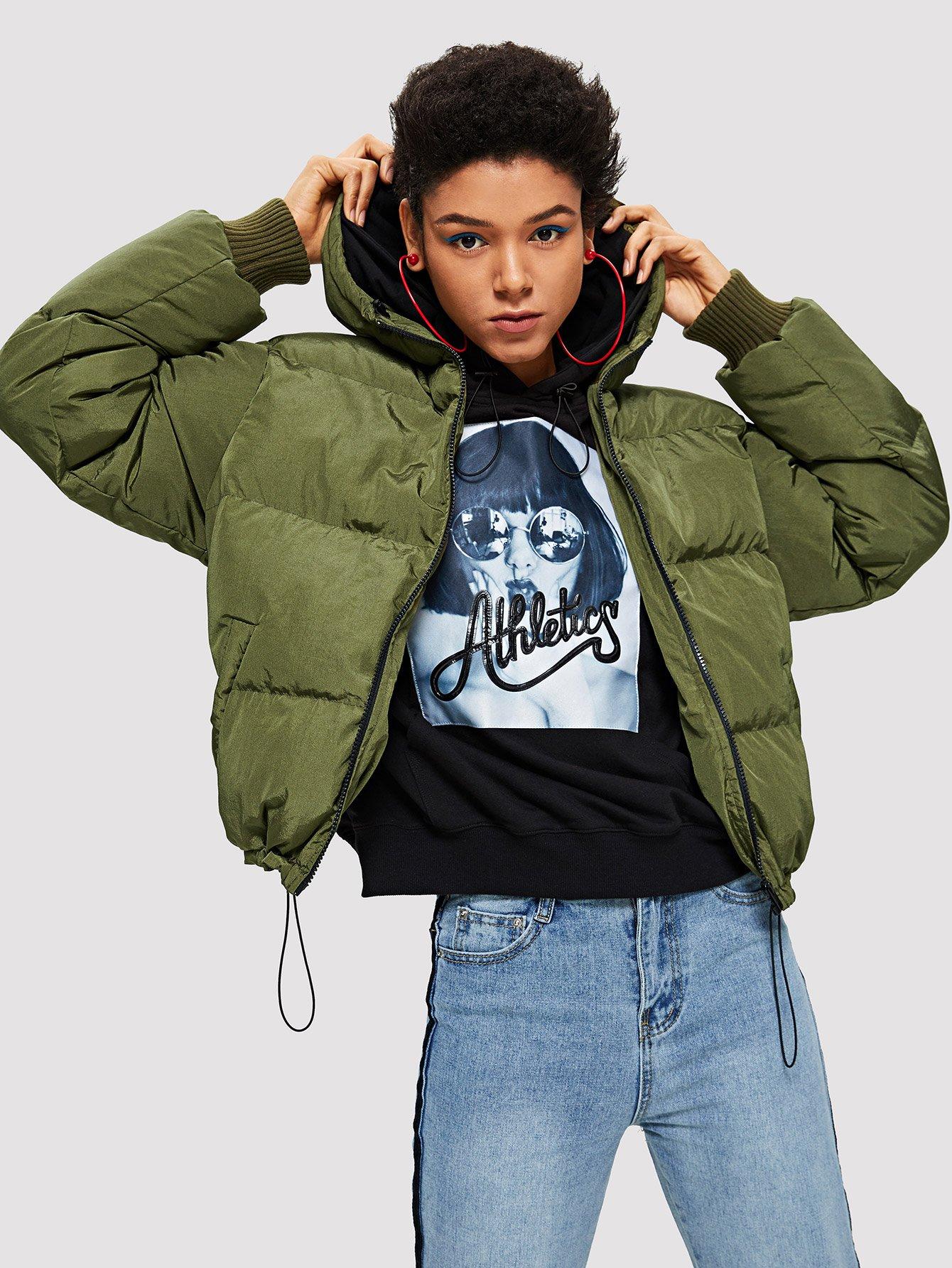 Купить Zip Up с капюшоном Puffer Coat, Hannah Mavestrand, SheIn