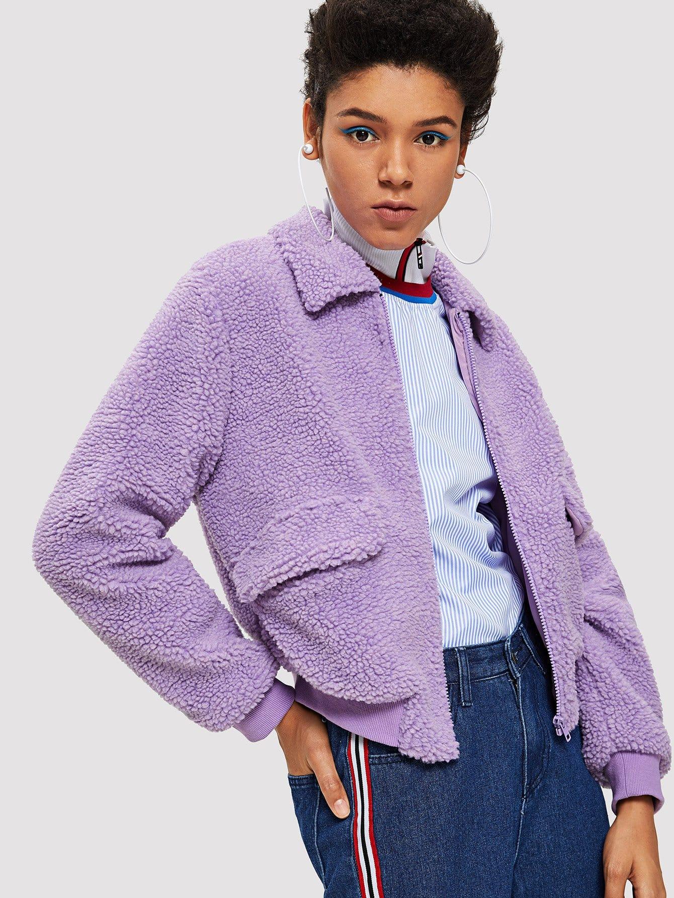 Купить Тедди пальто на молнии с карманом, Hannah Mavestrand, SheIn