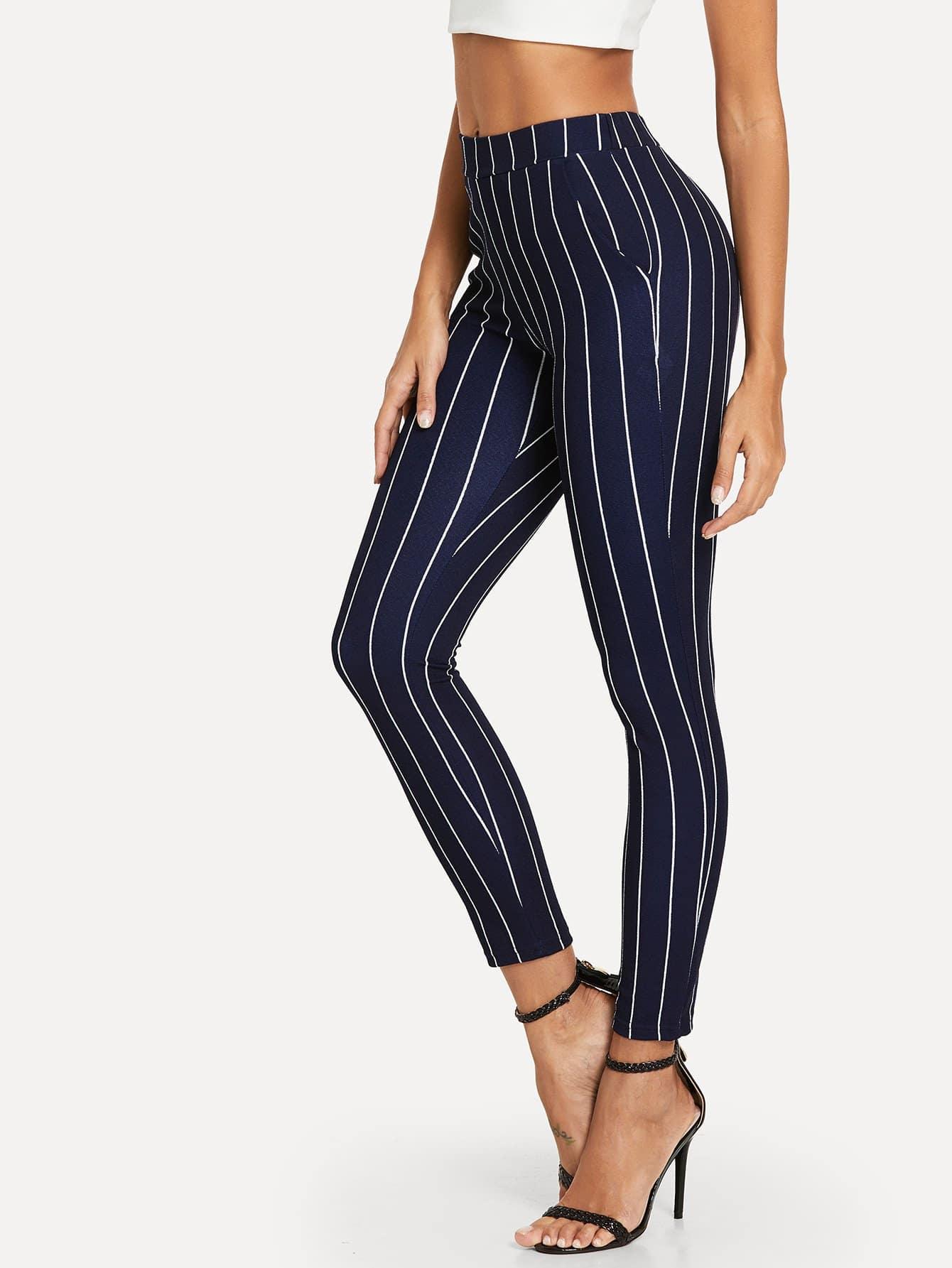 Купить Вертикальные полосатые тощие брюки, Giulia, SheIn