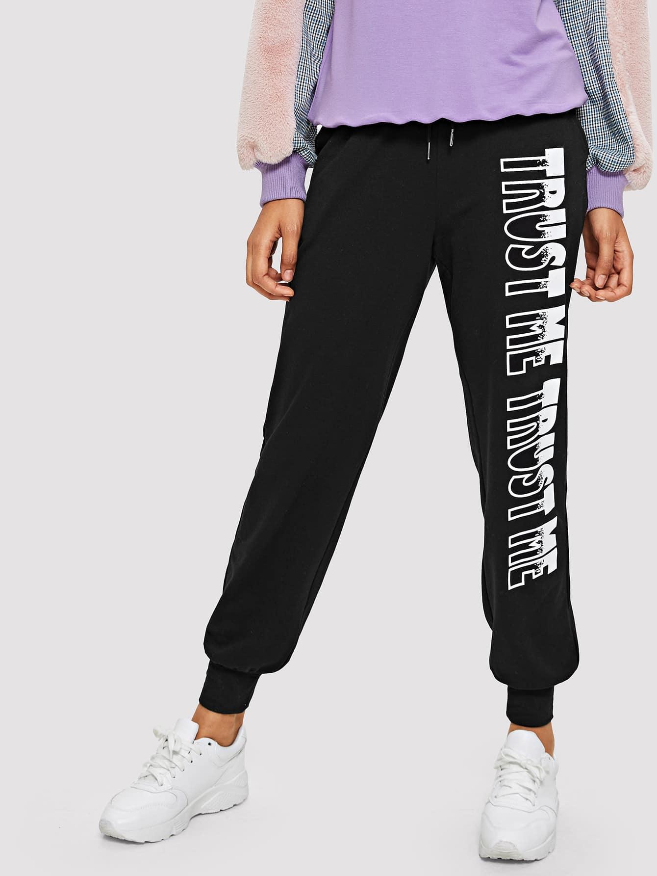 Купить Письмо-печатные тренировочные брюки, Hannah Mavestrand, SheIn