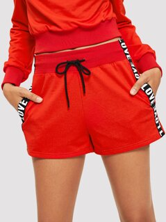 Lettering Tape Detail Sweat Shorts