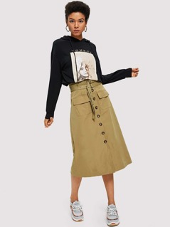 Button Through Belted Skirt